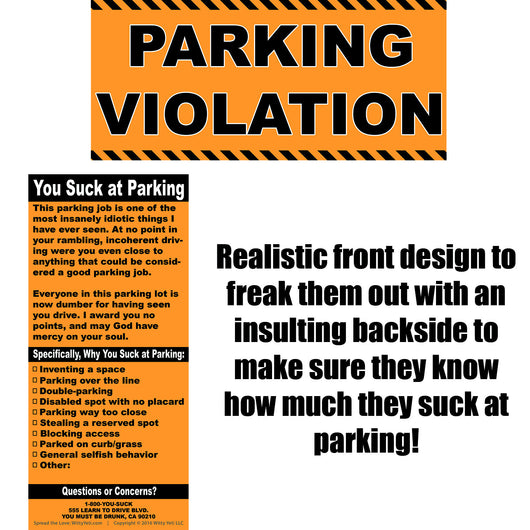 Full-Size Fake Parking Ticket 20 Pack – Witty Yeti