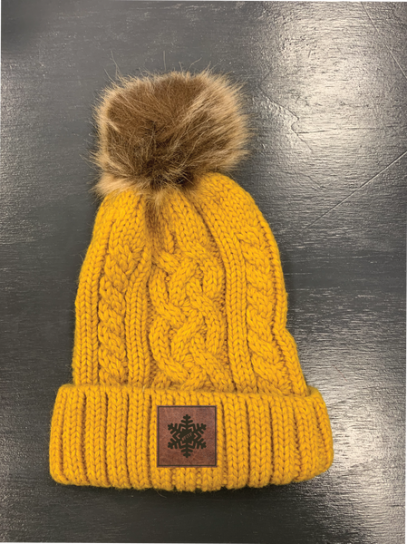 FITF Cable Knit Beanie With Fur Pom