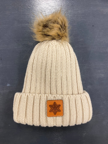 Knit Beanie With Fur Pom