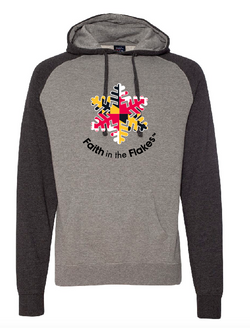 Adult Raglan FITF Hoodie Maryland Flag Design
