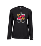 Ladies Long Sleeve Performance Tee with Flag Flake