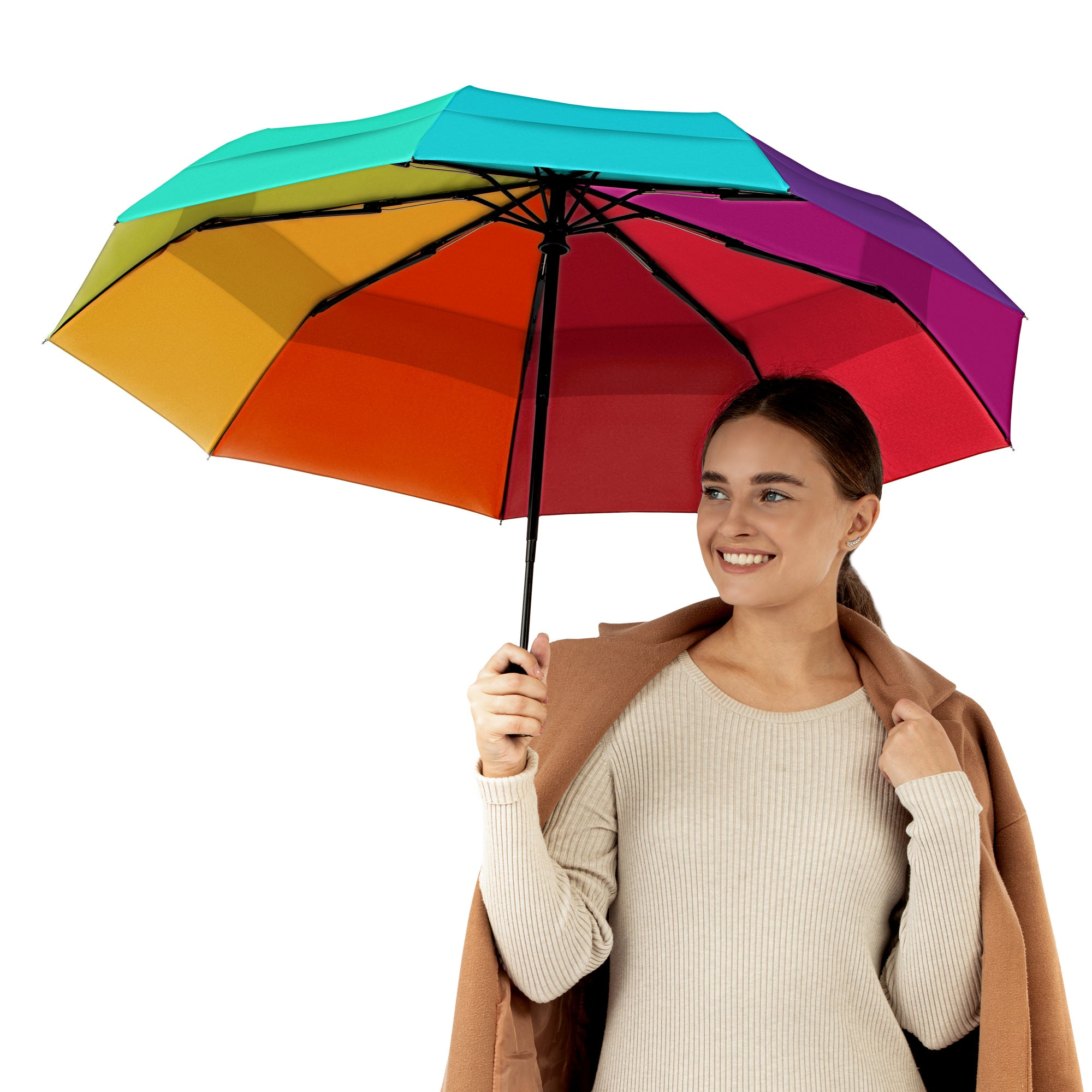 Windproof Travel Umbrella - Compact, Automatic, Rainbow