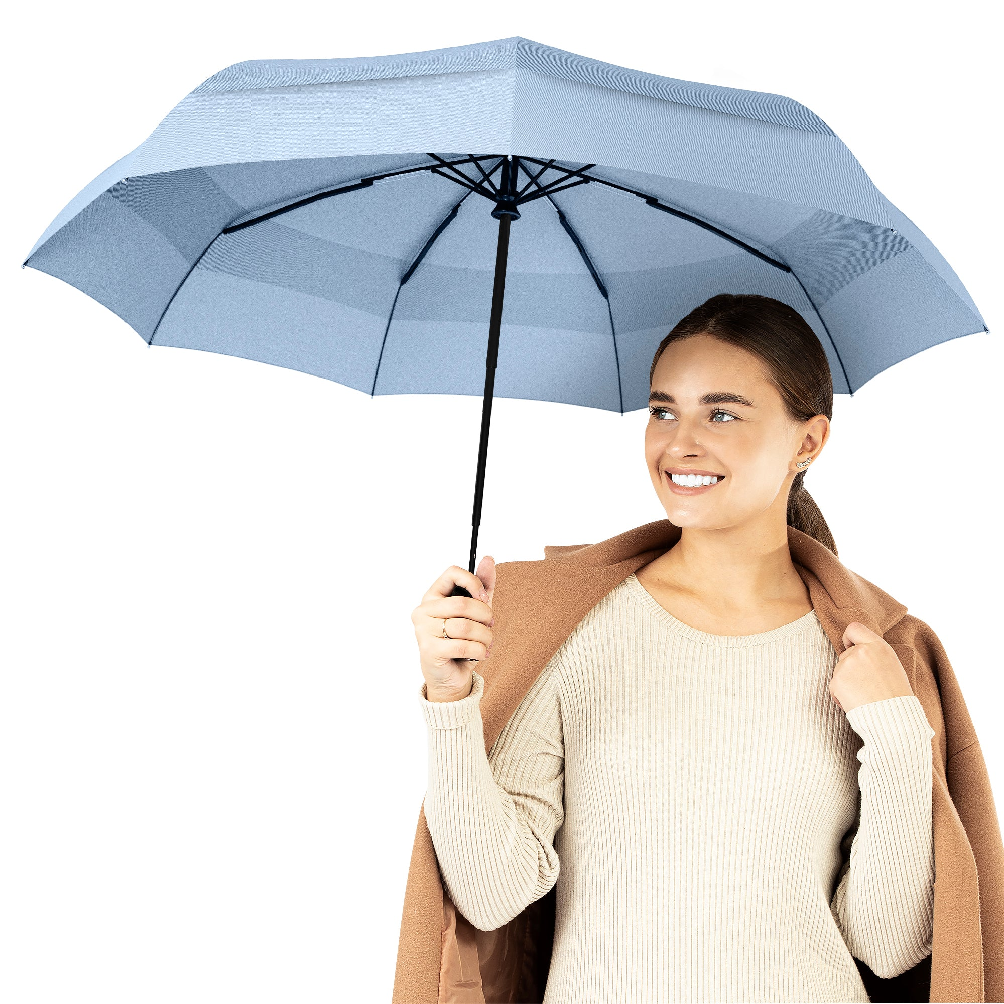 Windproof Travel Umbrella - Compact, Automatic, Slate Blue