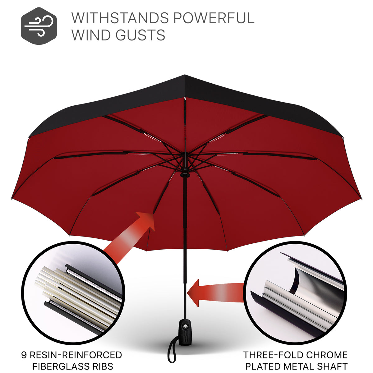 Windproof Travel Umbrella - Compact, Automatic, Red & Black