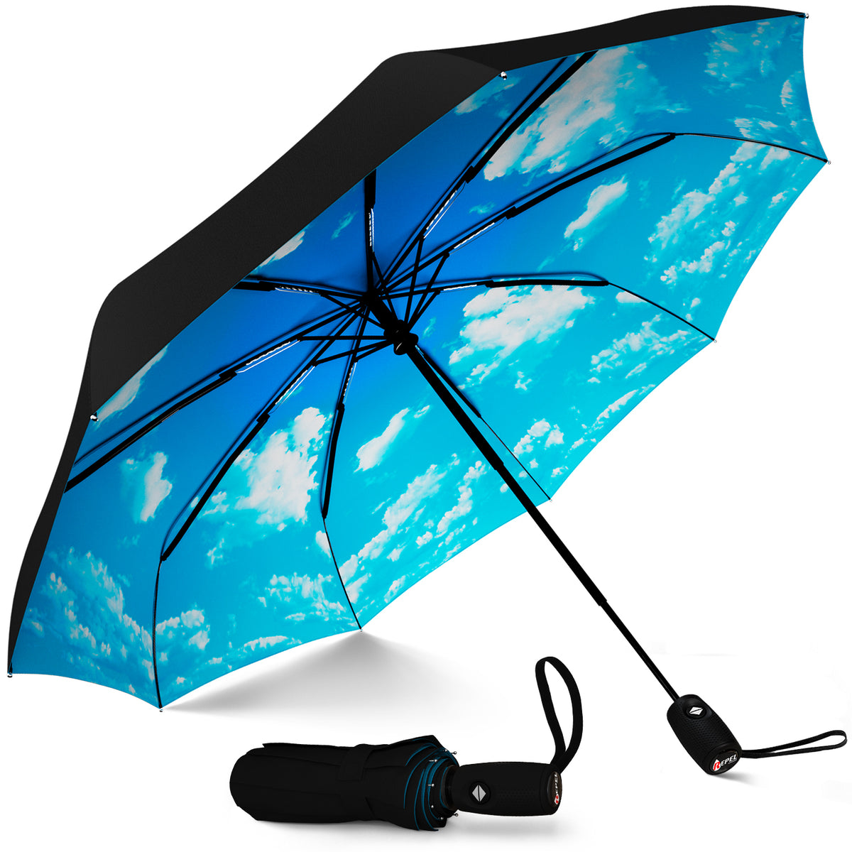 Windproof Travel Umbrella - Compact, Automatic, Blue Sky