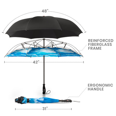 Reverse Folding Umbrella - Blue Sky