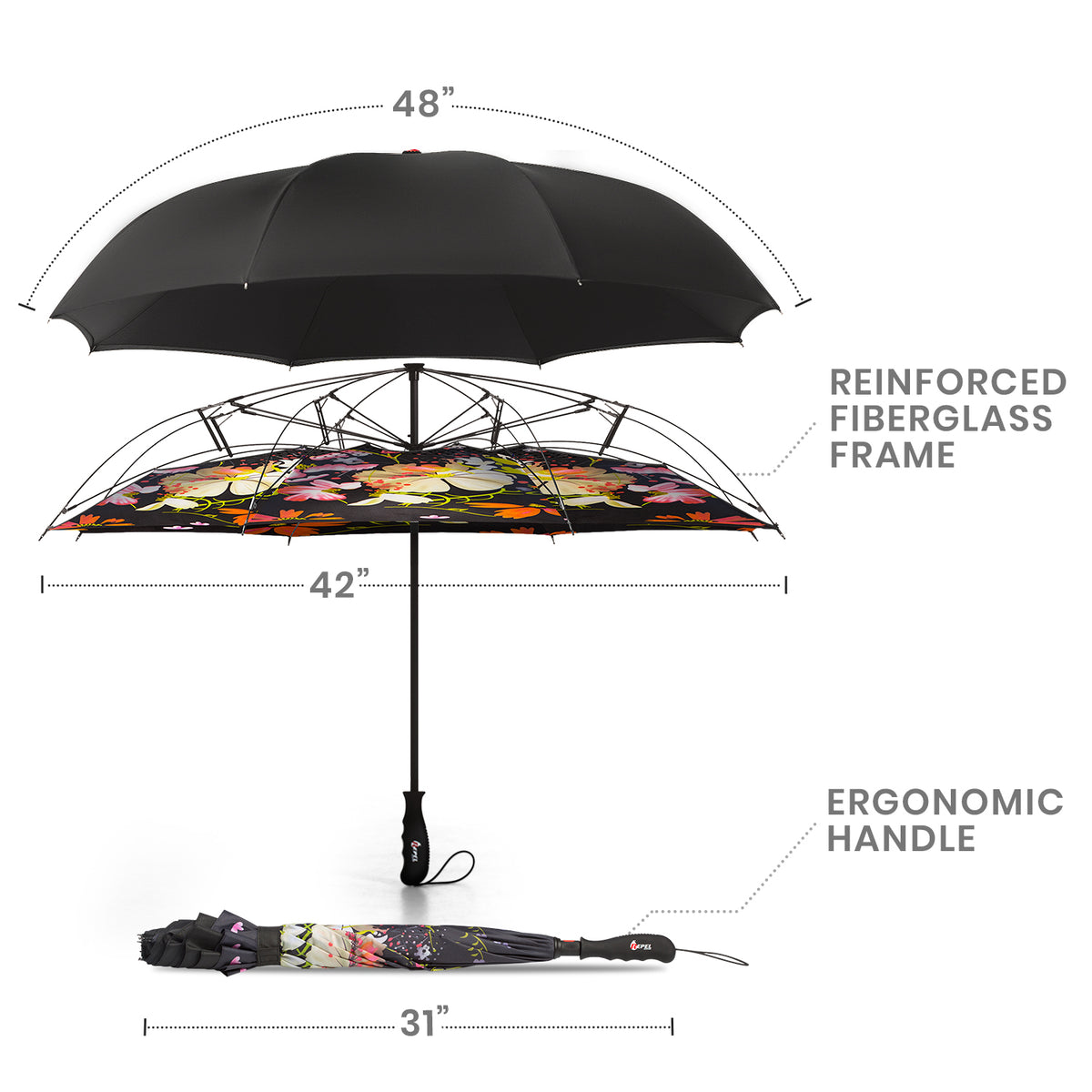 Reverse Folding Umbrella - Flower Bouquet