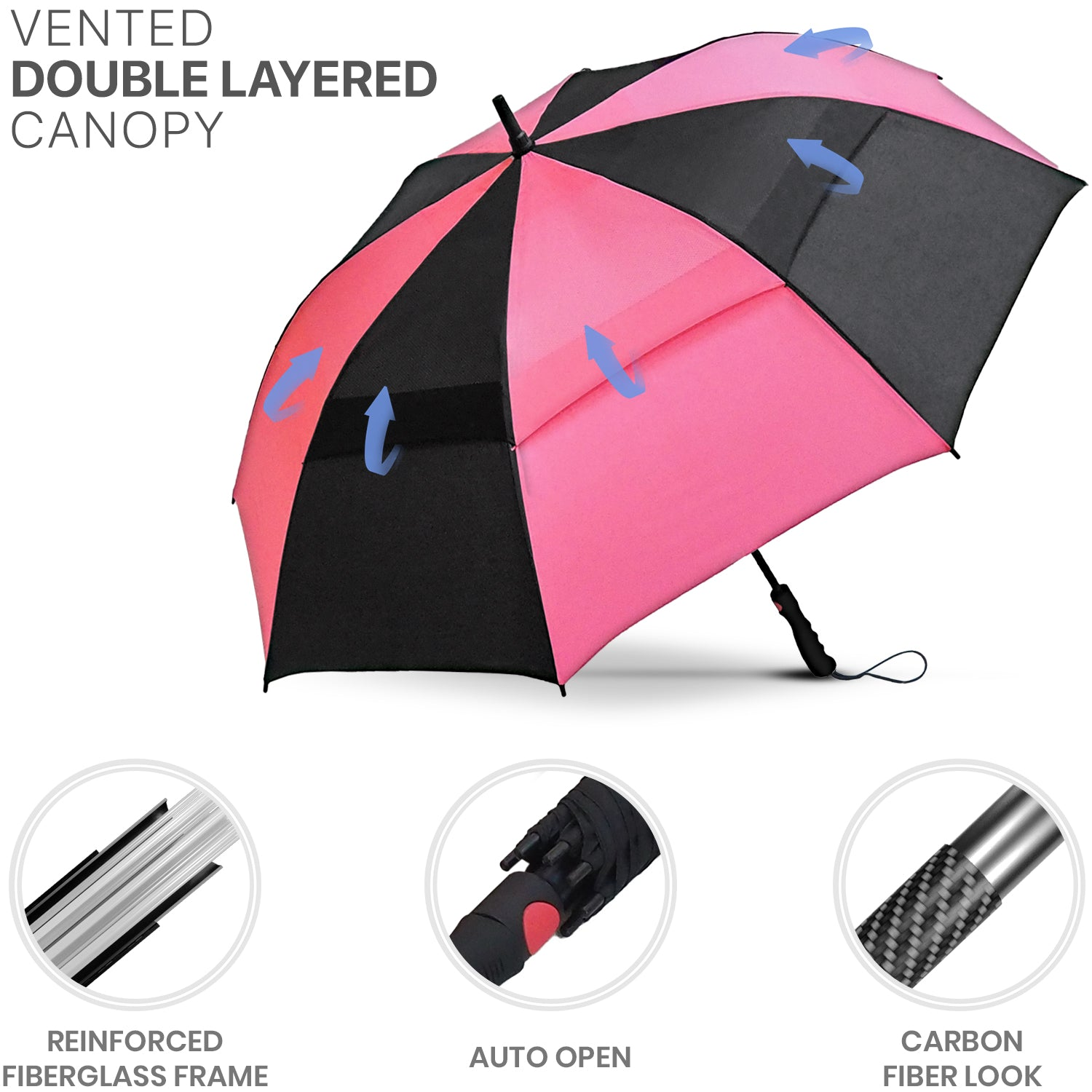 Black & Pink Golf Umbrella