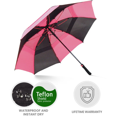 Golf Umbrella - Black/Pink
