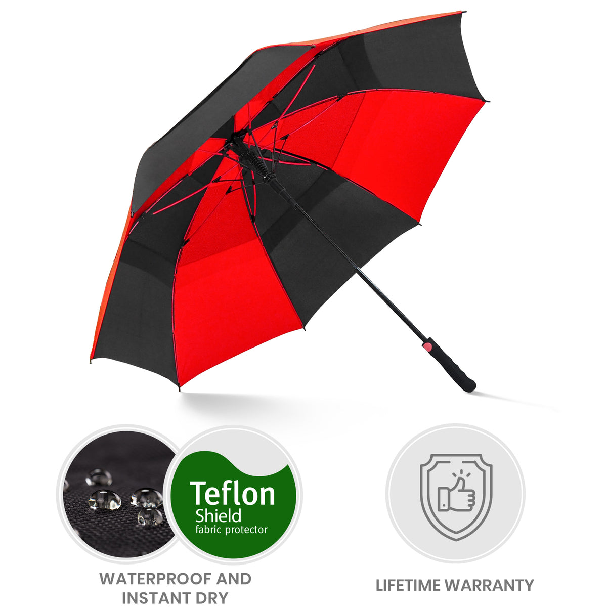 Golf Umbrella - Black/Sunset Red