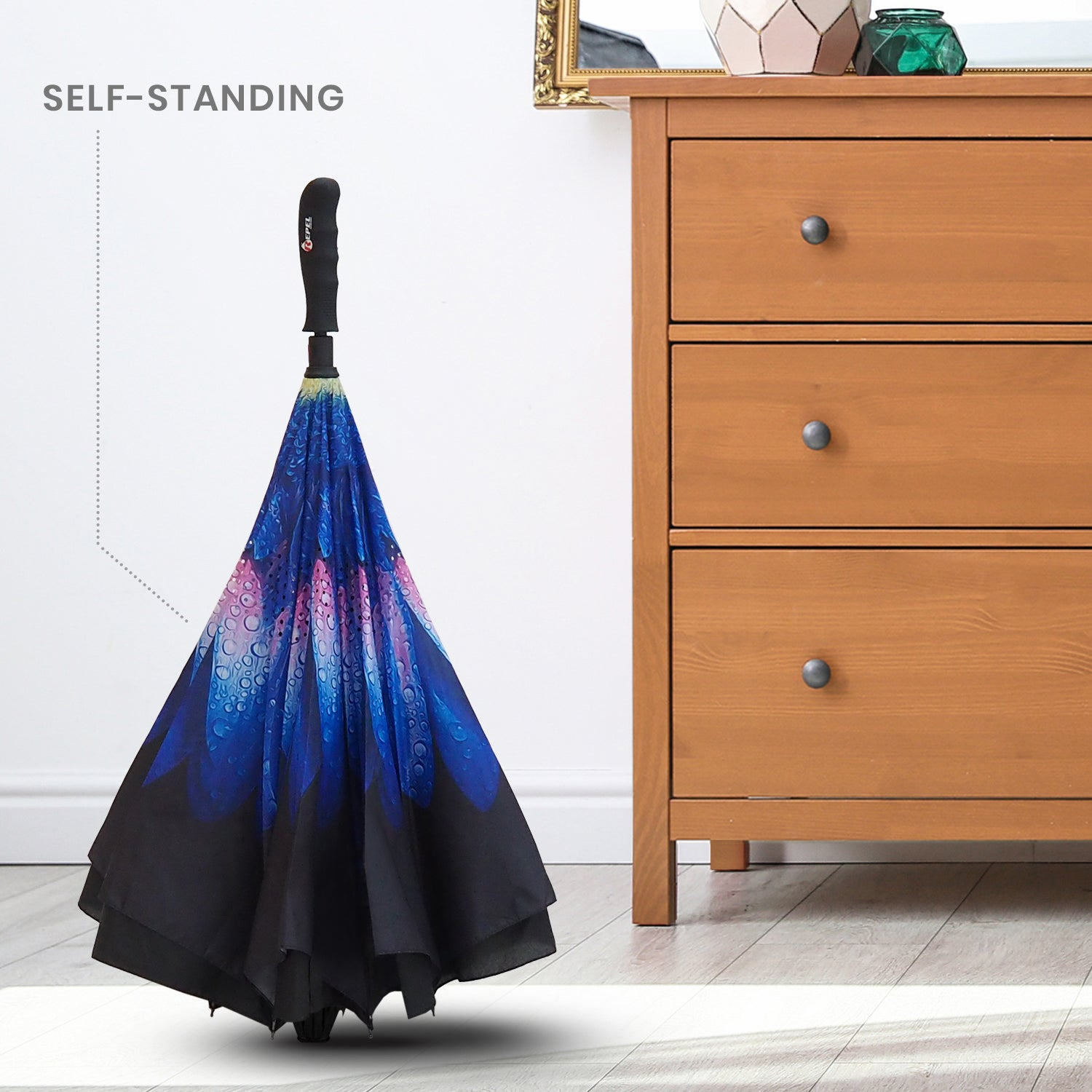 Reverse Folding Umbrella - Indigo Flower