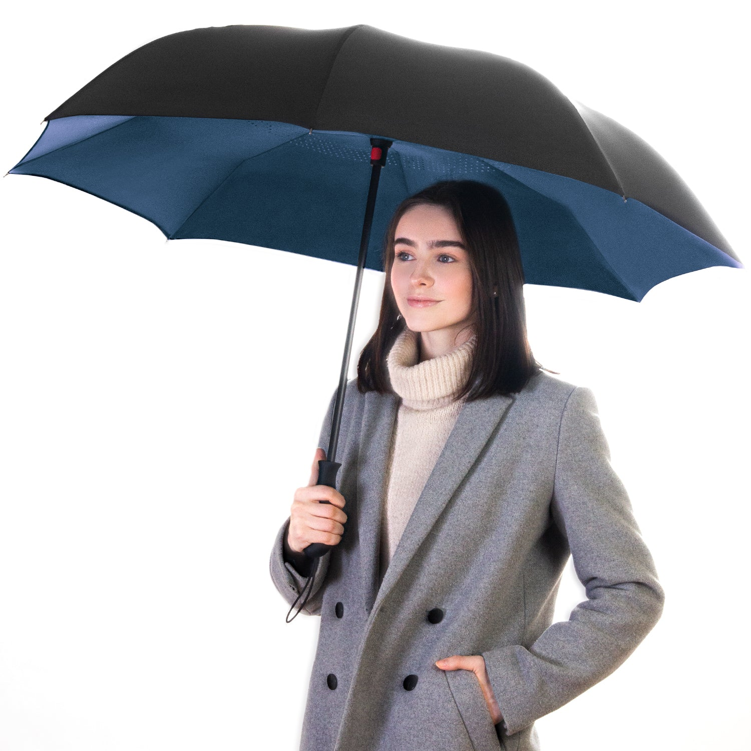 Reverse Folding Umbrella - Navy Blue