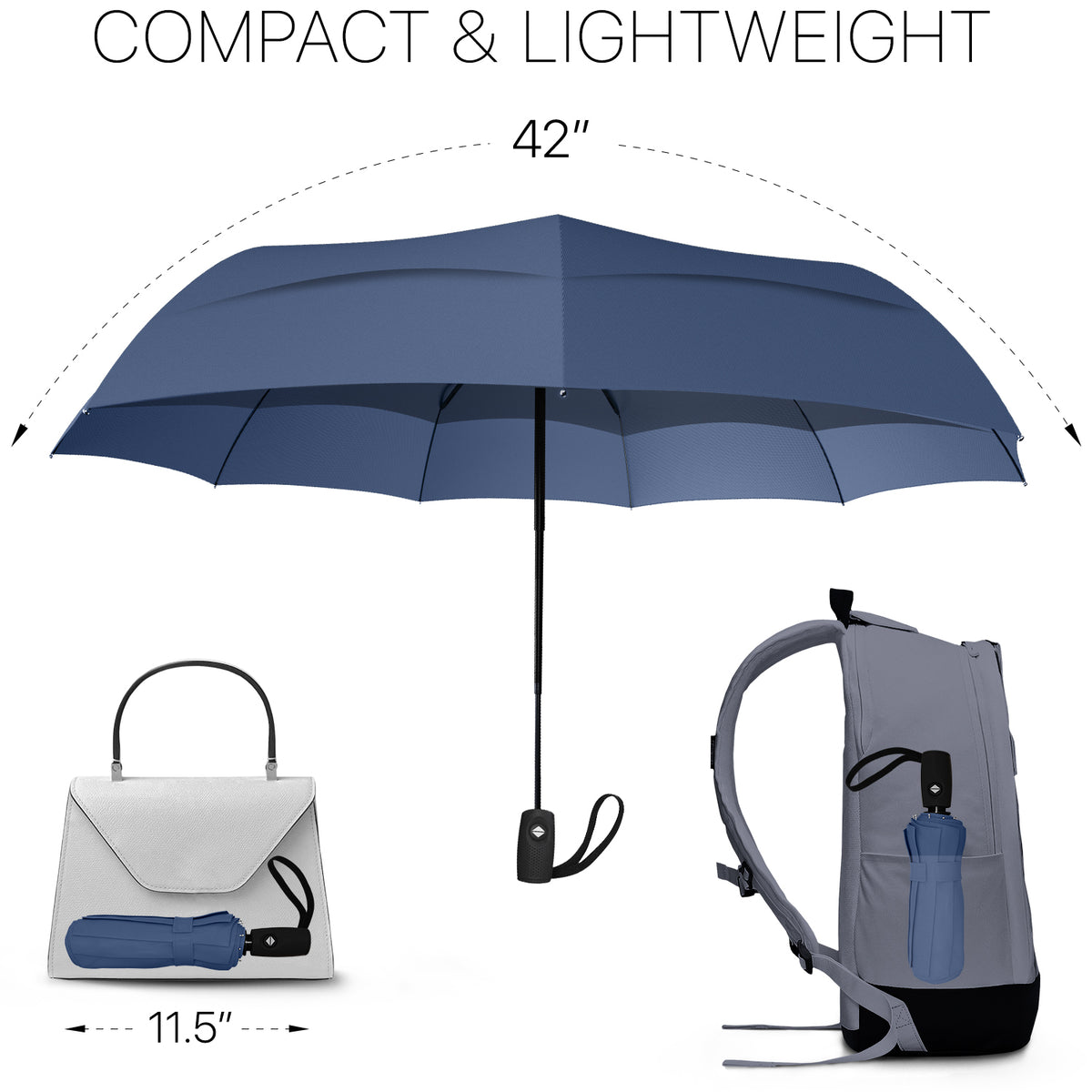 Windproof Travel Umbrella - Compact, Automatic, Navy Blue