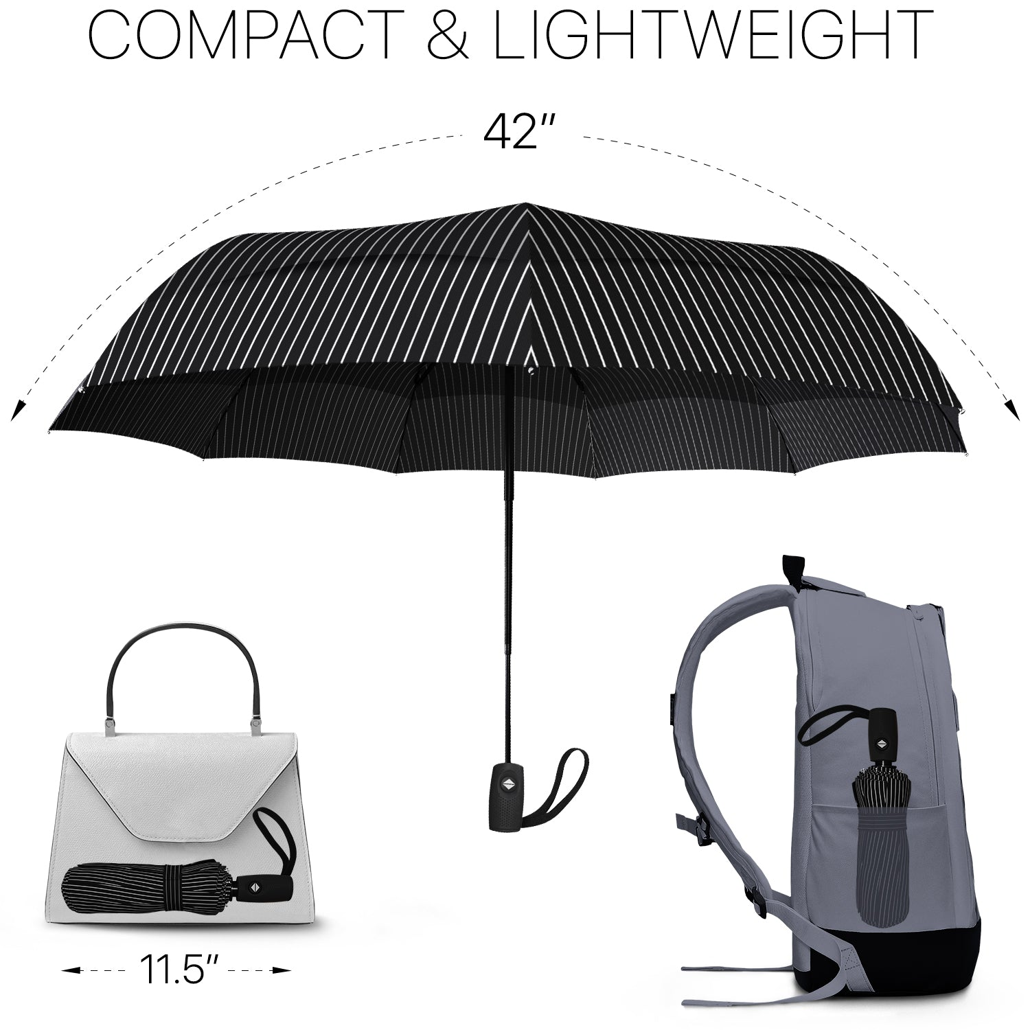Windproof Travel Umbrella - Compact, Automatic, Pin Stripe