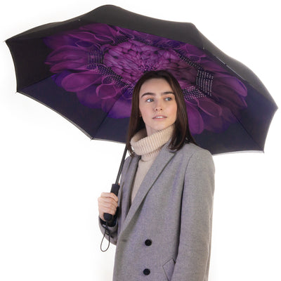 Reverse Folding Umbrella - Purple Flower