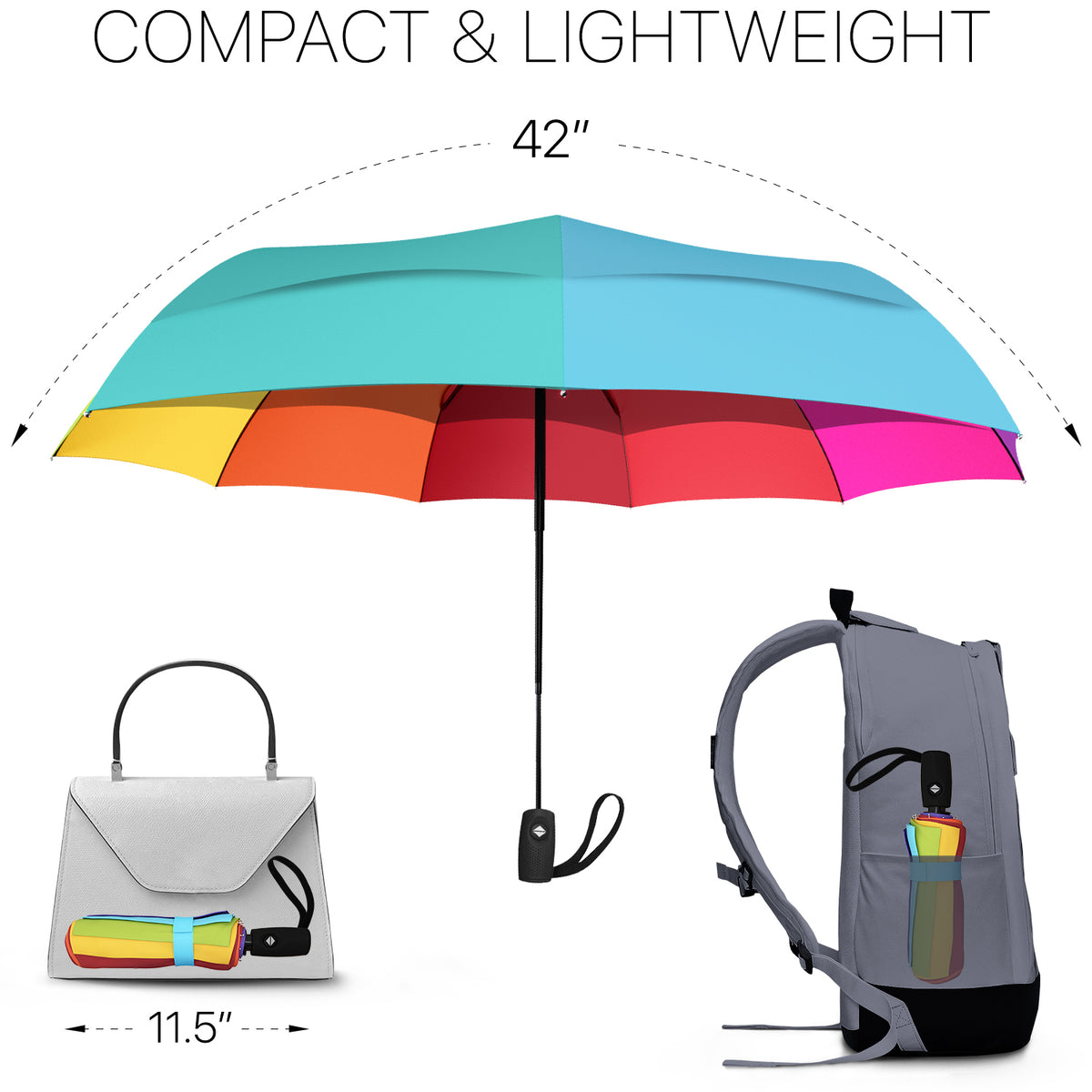 Travel Umbrella - Rainbow