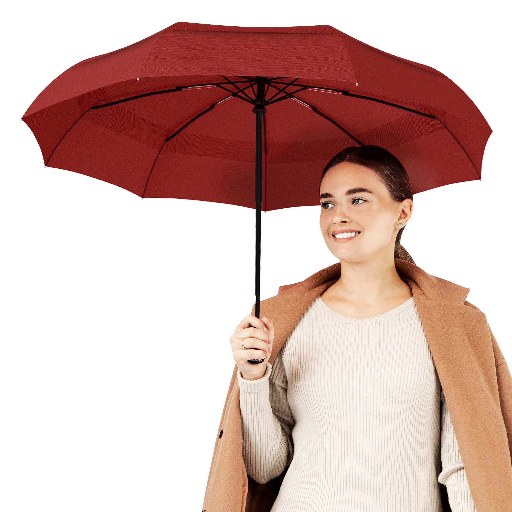 Windproof Travel Umbrella - Compact, Automatic, Red