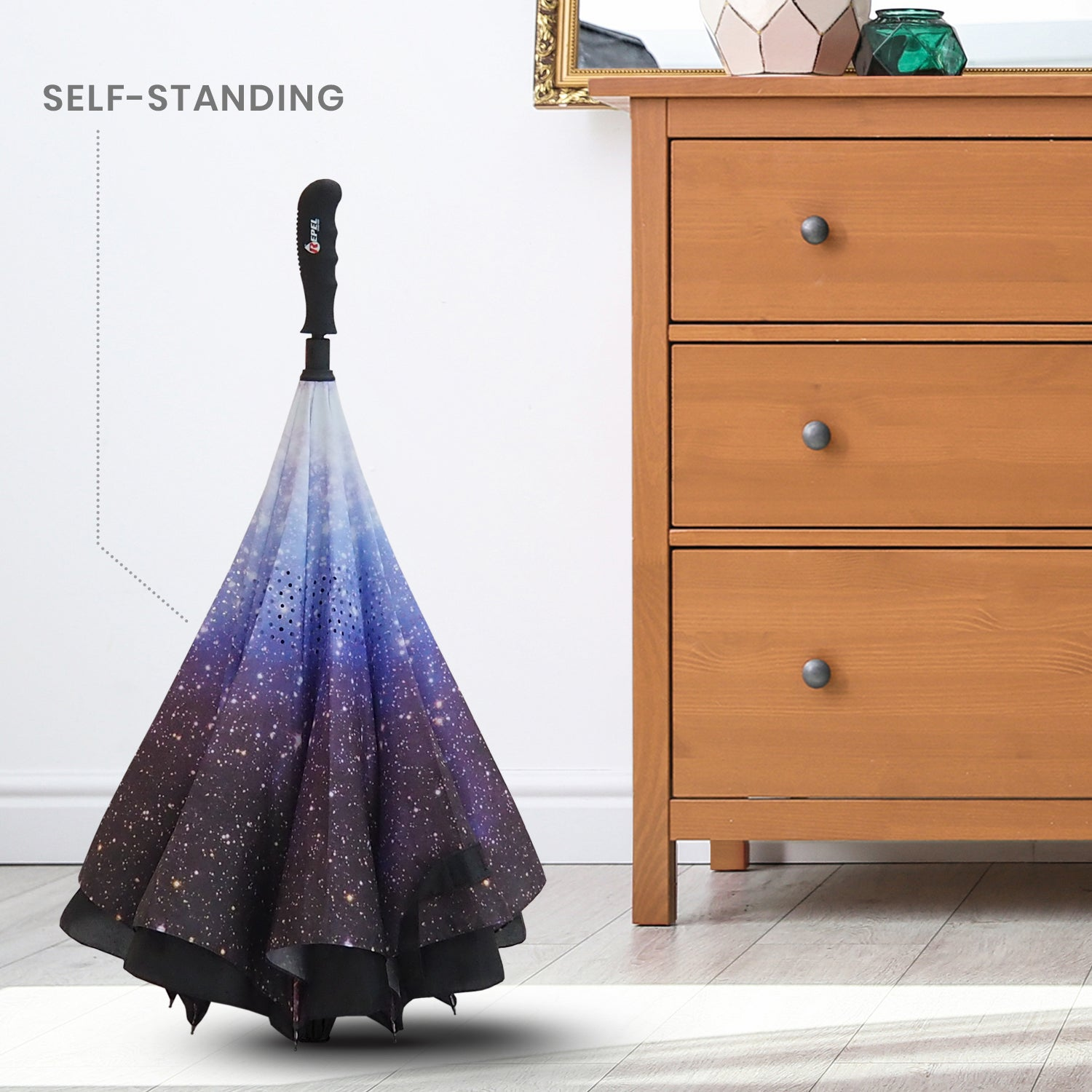 Reverse Folding Umbrella - Starry Night