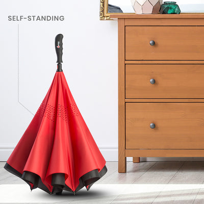 Reverse Folding Umbrella - Tangerine
