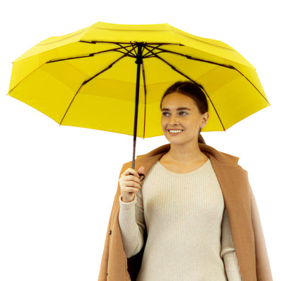 Windproof Travel Umbrella - Compact, Automatic, Yellow
