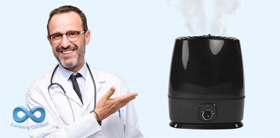 doctor with glasses points to a humidifier