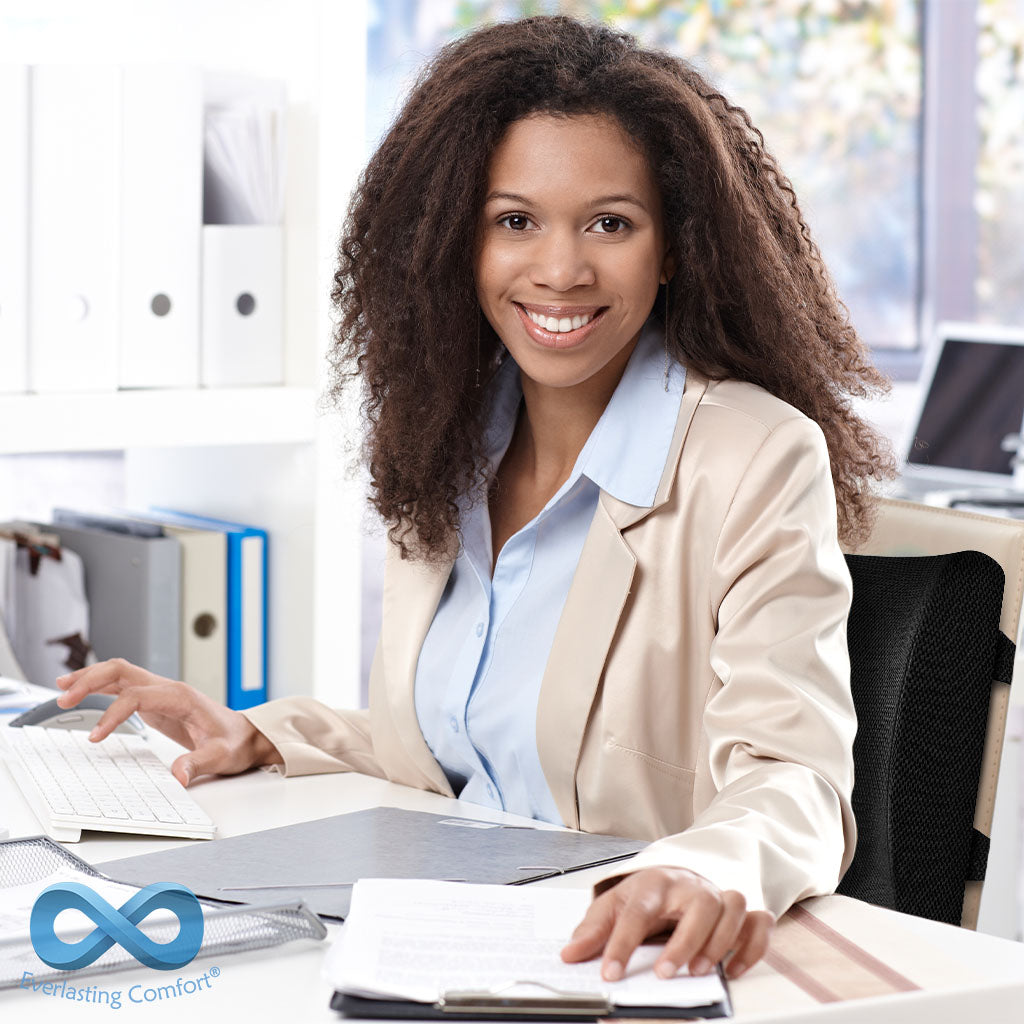girl smiling at workplace