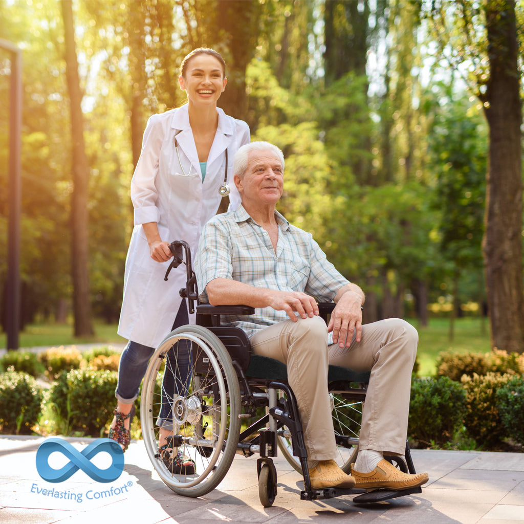 a man in a wheelchair is walking with a doctor