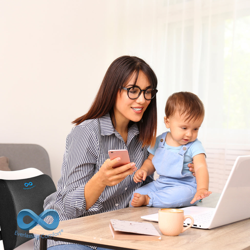 mother and child working at home