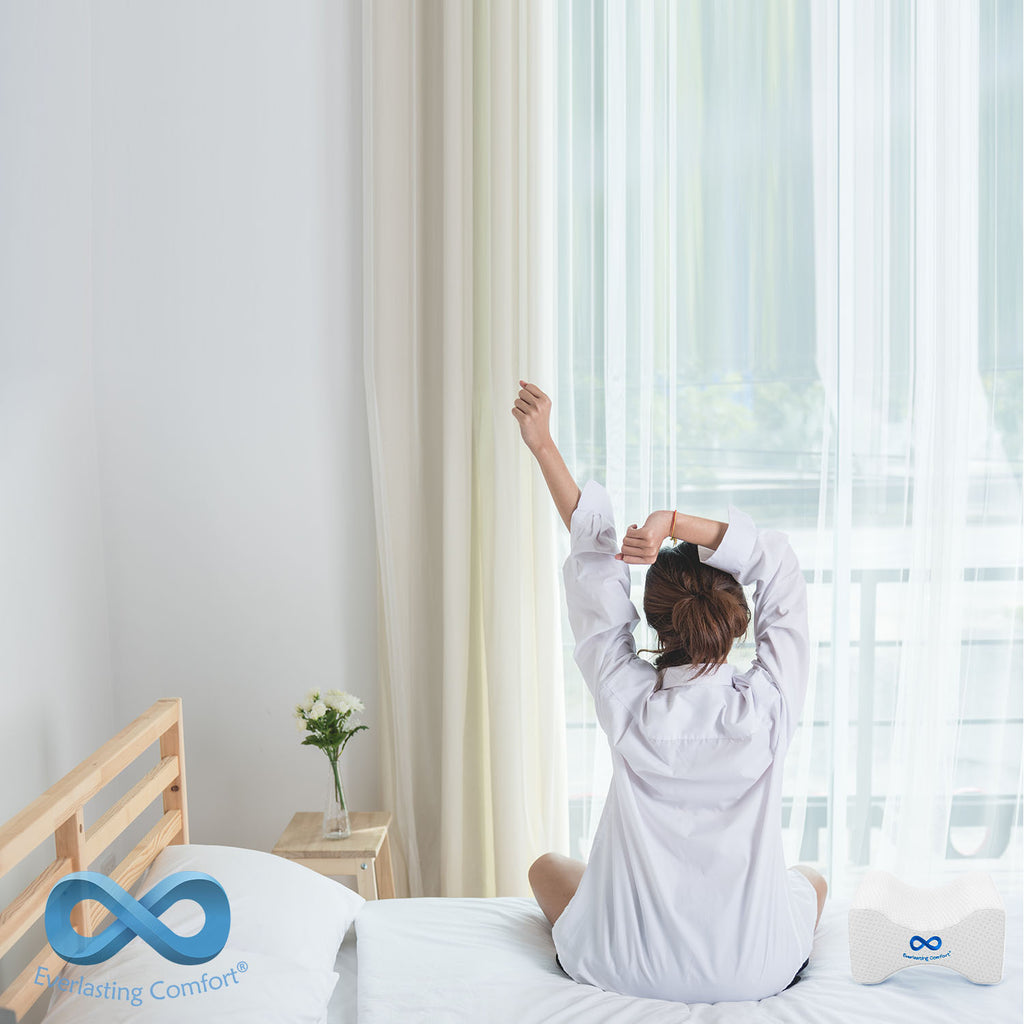 girl stretching on the bed