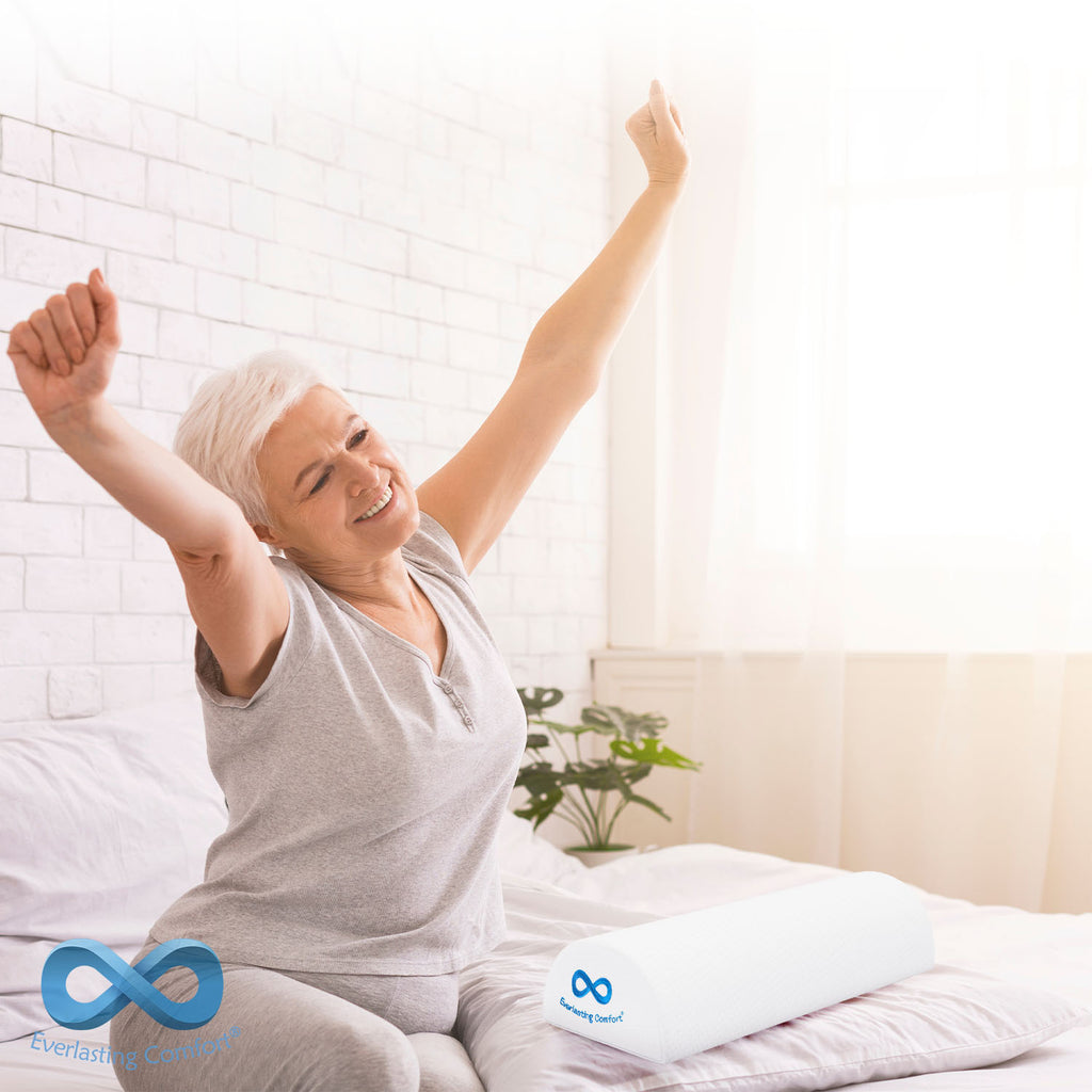 adult woman stretching on bed
