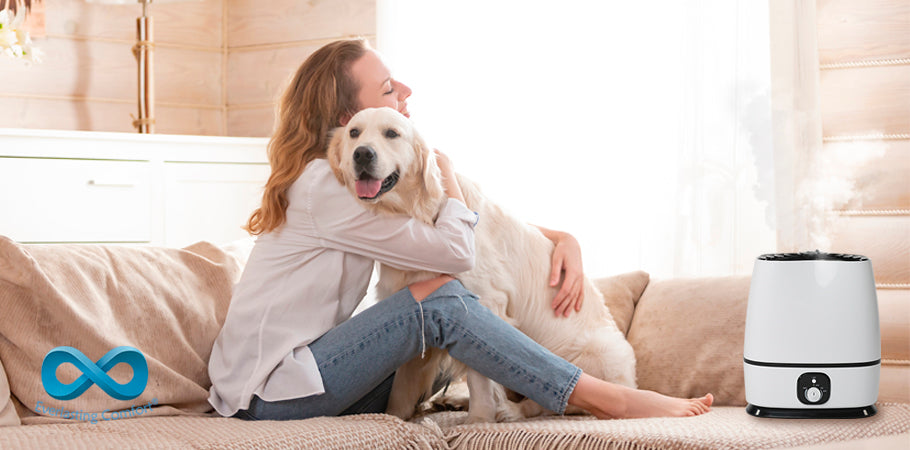 girl hugs a dog
