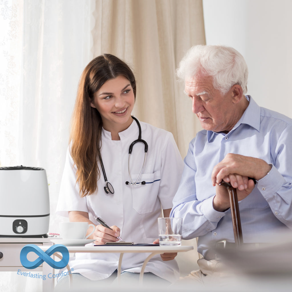 the doctor communicates with an elderly patient
