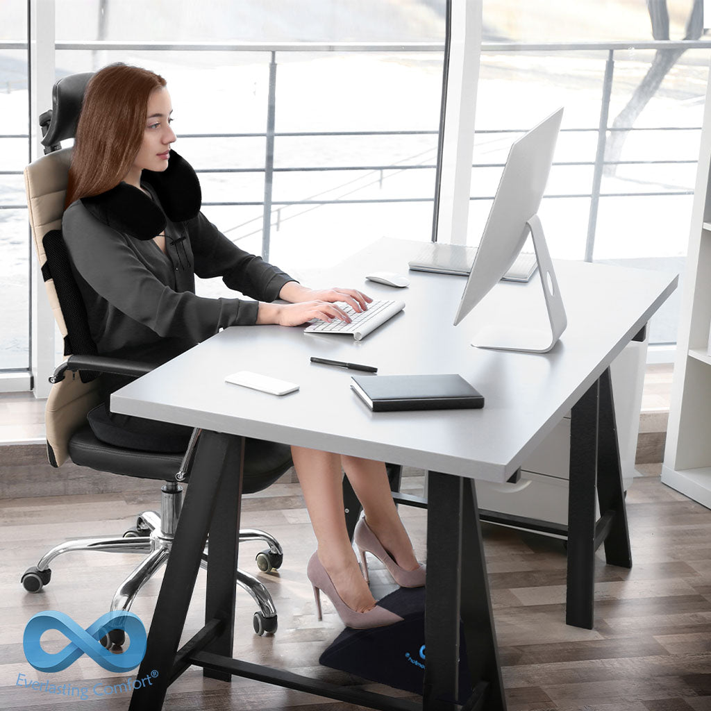 girl resting in an office chair
