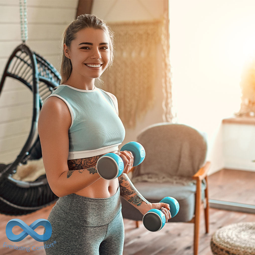 girl goes in for sports at home