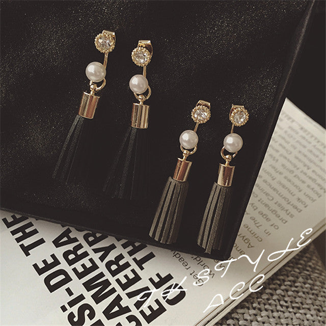 Pearl Leather Tassel Earrings - PicaPicaBeauty