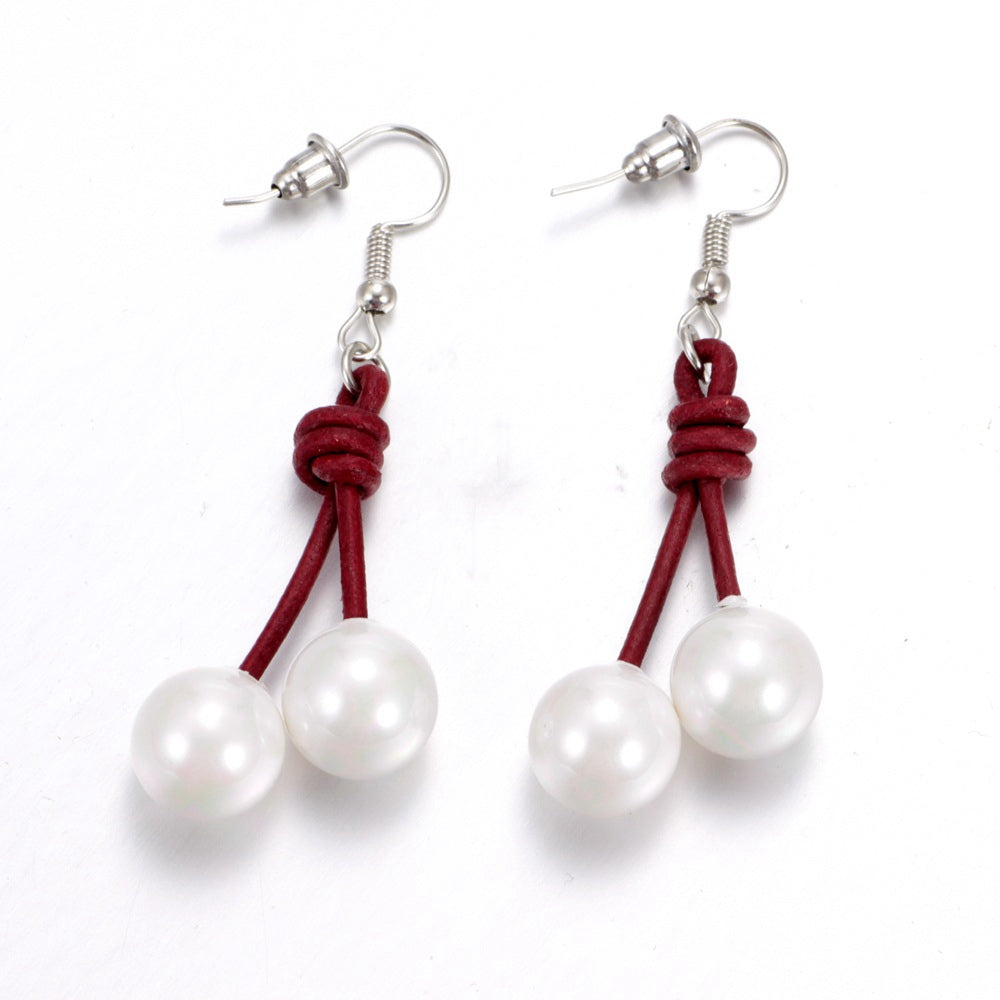 Pearls and Leather Earrings HOT ITEM - PicaPicaBeauty