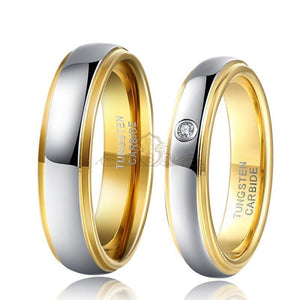 1 Pair Silver & Gold Wedding Bands Set - PicaPicaBeauty