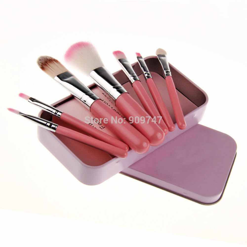 7 pcs Hot Pink Brushes and Box - PicaPicaBeauty