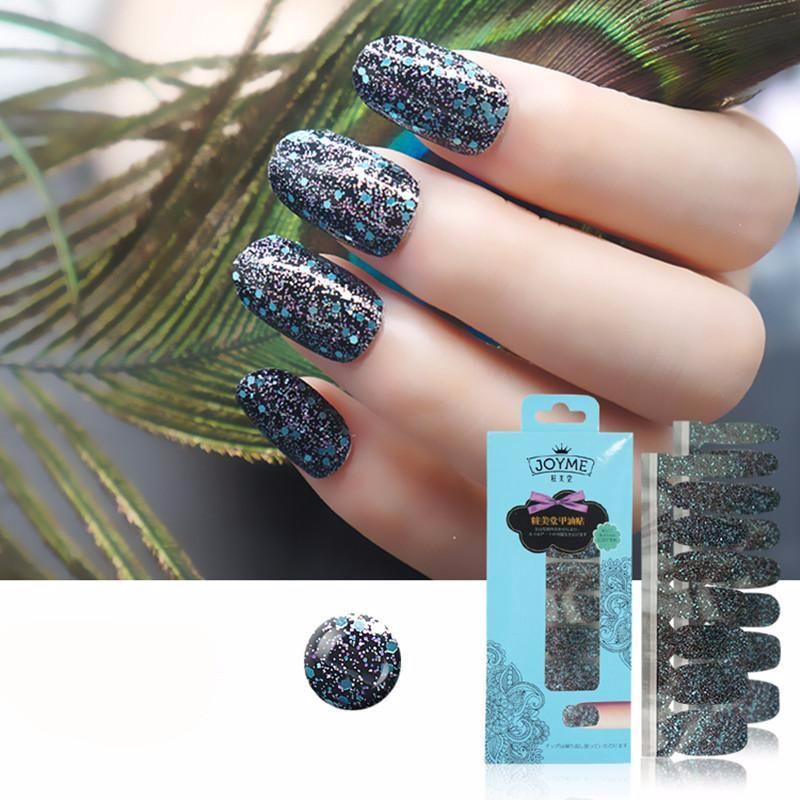 16 Tips Real Nail Polish Stickers - Blue Glitter - PicaPicaBeauty