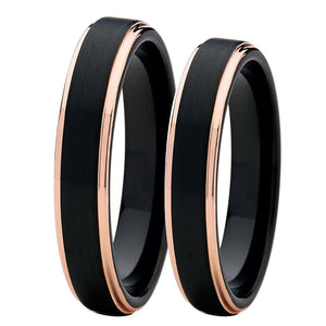 4mm Women's Wedding Band - Black and Polished Rose Gold - PicaPicaBeauty