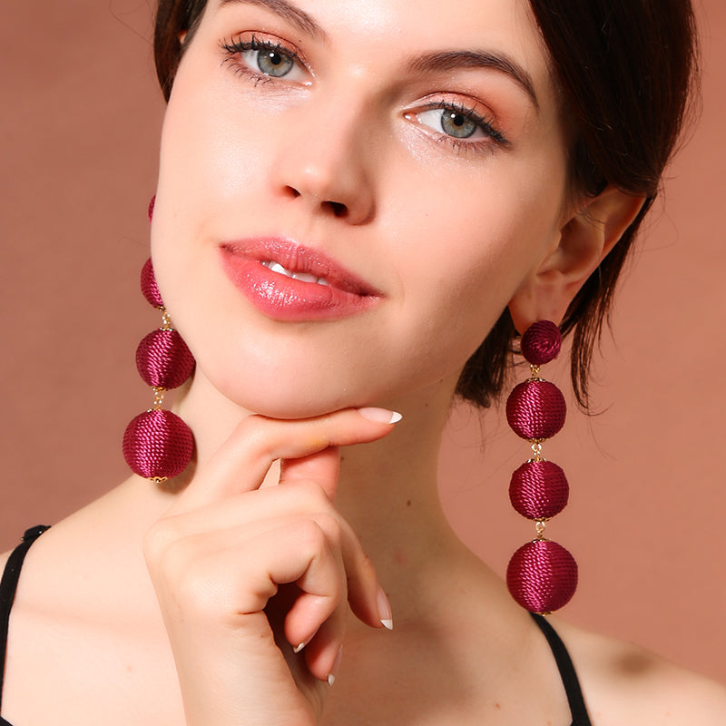 4 Colors Pom Pom Drop Earrings - PicaPicaBeauty