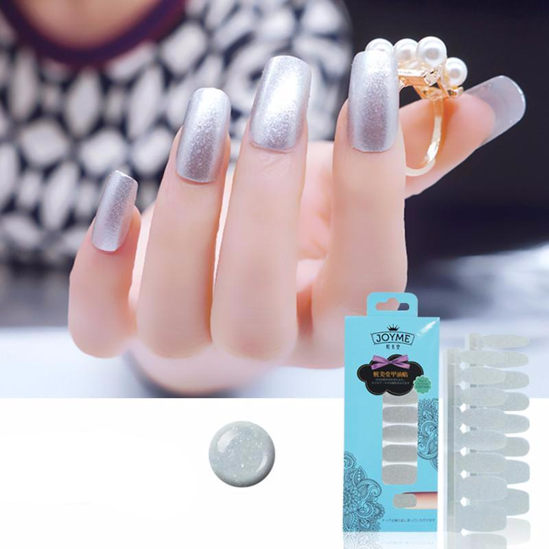 16 Tips Real Nail Polish Stickers - Silver - PicaPicaBeauty