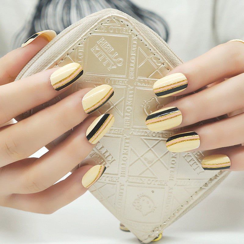 16 Nail Polish Stickers - Yellow Stripes - PicaPicaBeauty