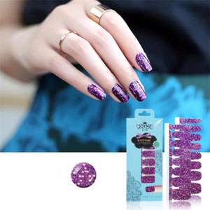16 Nail Polish Stickers - Purple Glitter - PicaPicaBeauty