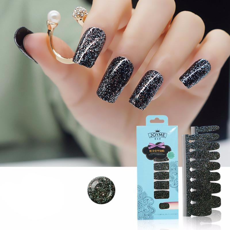 16 Tips Real Nail Polish Stickers - Black Glitter - PicaPicaBeauty