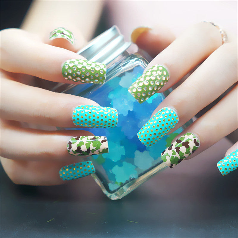 16 Tips Real Nail Polish Stickers - 3D Green - PicaPicaBeauty