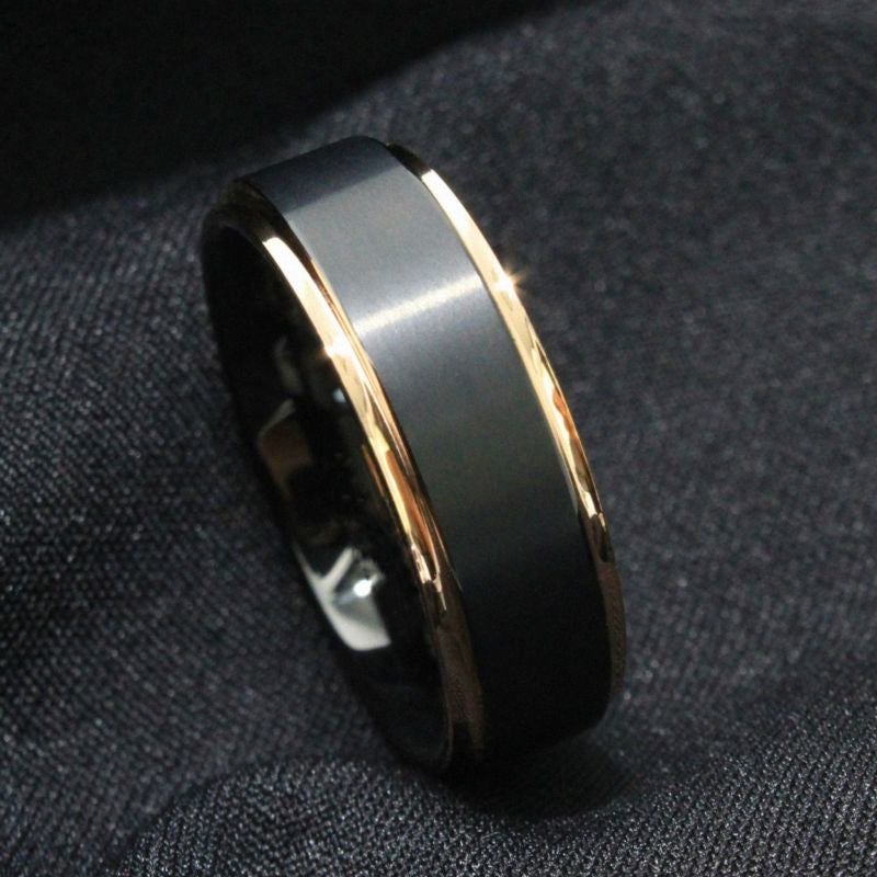 8mm Mens Wedding Band - Black & Polished Rose Gold - PicaPicaBeauty