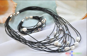 15 row Pearl and Leather Necklace & Bracelet - PicaPicaBeauty