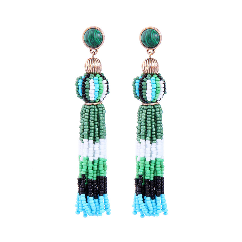 Green Acrylic Tassel Earrings - PicaPicaBeauty