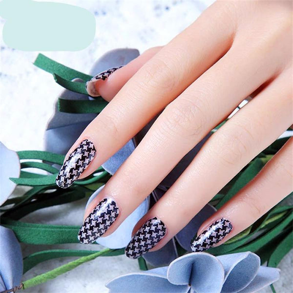 16 Tips Real Nail Polish Stickers - Houndstooth - PicaPicaBeauty